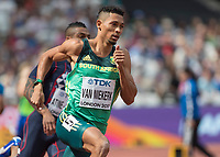Athletics - 2017 IAAF London World Athletics Championships - Day One<br /> <br /> Event: Mens 400m Heat 2<br /> <br /> Wayde Van Niekerk (RSA) rounds the first bend in the heats <br /> <br /> <br /> COLORSPORT/DANIEL BEARHAM