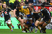 Bath wing Semasa Rokoduguni (14) hits the line during the Gallagher Premiership Rugby match between Wasps and Bath Rugby at the Ricoh Arena, Coventry, England on 2 November 2019.