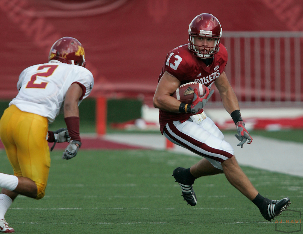 06 October 2007: Indiana wide receiver Andrew Means (13) as the Indiana Hoosiers played the Minnesota Golden Gophers in a college football game in Bloomington, Ind.Indiana won 40-20.