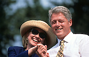 CAIRO, IL - August 30: US President Bill Clinton with Hillary Clinton during a campaign stop on their bus tour August 30, 1996 in Cairo, IL.      (Photo Richard Ellis)