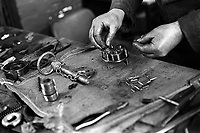 Details of work benches at Eliza Tinsley Chain workshop in The Black Country West Midlands UK