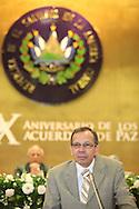El presidente de parlamento de Nicargua Rene Nuñes Telles  ofrece un discurso Viernes AGT 24, 2012 en la asamblea legislativa San Salvador, El Salvador durante una reunion de presidentes y vipresidentes de poderes legislativo de centro america y la cuenca del caribe. Foto: Franklin Rivera/fmln/Imagenes Libres.