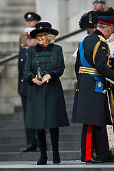 © London News Pictures. 13/03/2015. Camilla, Duchess of Cornwall arrives at a service of commemoration to mark the end of combat operations in Afghanistan, at St Paul's Cathedral in London. Photo credit: Ben Cawthra/LNP