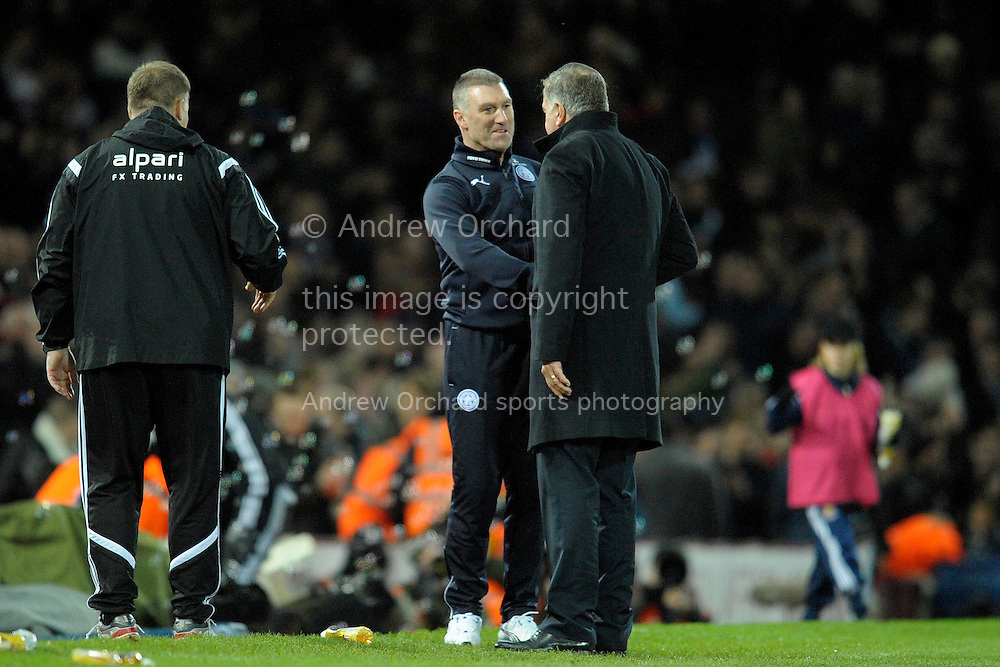 Leicester City manager Nigel Pearson congratulating West Ham United manager Sam Allardyce at the final whistle. Barclays Premier league match, West Ham Utd v Leicester city at the Boleyn ground, Upton Park in London on Sat 20th December 2014.<br /> pic by John Patrick Fletcher, Andrew Orchard sports photography.