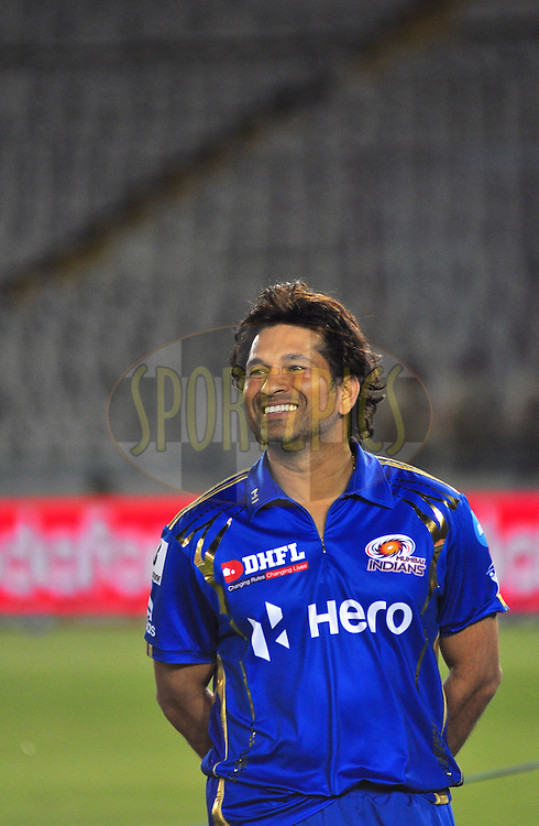 Mumbai Indians batsman Sachin Tendulkar at the presentation ceremony during match 33 of the the Indian Premier League ( IPL) 2012  between The Kings X1 Punjab and The Mumbai Indians held at the Punjab Cricket Association Stadium, Mohali on the 25th April 2012..Photo by Arjun Panwar/IPL/SPORTZPICS