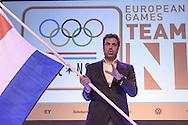 02-06-2015: Nieuws: Presentatie selectie Europese Spelen: Papendal<br /> <br /> (L-R) Chef de mission Jeroen Bijl<br /> <br /> European Games Team NL bestaat tijdens de eerste editie van het evenement in Baku uit 120 topsporters. Zij komen in totaal uit in zeventien sporten en nemen deel aan 24 disciplines. Chef de mission is Jeroen Bijl<br /> <br /> NOVUM COPYRIGHT / ORANGE PICTURES / GERTJAN KOOIJ