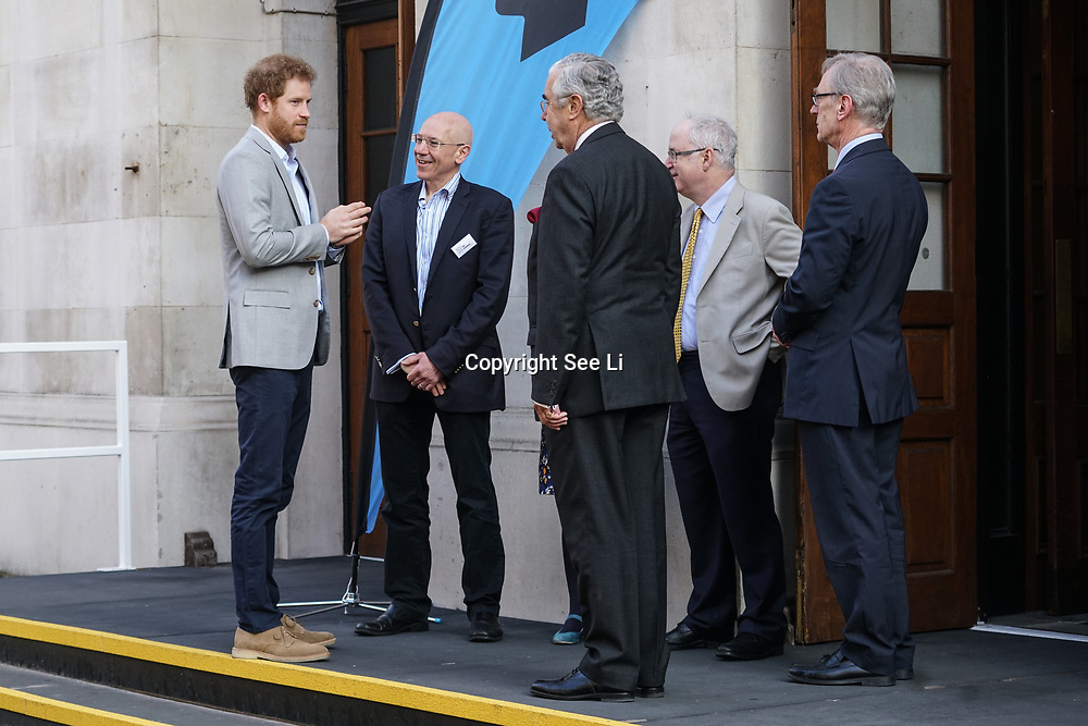 Prince Harry arrives at the Veterans Mental Health Conference with Head Together at King Collage London on 16th March 2017. Credit See Li