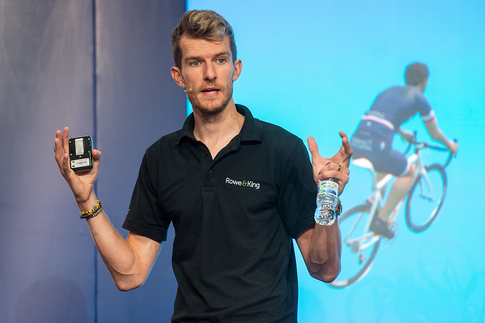 Matt Rowe, Cycling Coach and ZWIFT Ambassador offering advice on pacing climbing and training to an audience of participants and their families on the Main Stage in the Experts Show at The Cycling Show at Excel London. 26th July 2018<br /> <br /> Photo: Anthony Upton for Prudential RideLondon<br /> <br /> Prudential RideLondon is the world's greatest festival of cycling, involving 100,000+ cyclists - from Olympic champions to a free family fun ride - riding in events over closed roads in London and Surrey over the weekend of 28th and 29th July 2018<br /> <br /> See www.PrudentialRideLondon.co.uk for more.<br /> <br /> For further information: media@londonmarathonevents.co.uk
