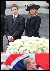 Michael and Amanda Thatcher watch their grandmothers coffin  leaving  St.Paul's Cathedral in London , Wednesday 17th  April 2013 Photo by: Stephen Lock / i-Images