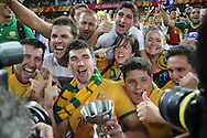Australian players celebrate with the fans after the AFC Asian Cup match at Stadium Australia, Sydney<br /> Picture by Steven Gibson/Focus Images Ltd +61 413 768835<br /> 31/01/2015
