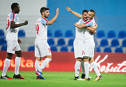 Yaya Banana of Panionios GSS, Giorgos Masouras of Panionios GSS, Panagiotis Korbos of Panionios GSS and Samed Yesil of Panionios GSS celebrate after Samed Yesil of Panionios GSS scored second goal for Panionios during 2nd Leg football match between ND Gorica (SLO) and Panionios GSS (GRE) in 2nd Qualifying Round of UEFA Europa League 2017/18, on July 20, 2017 in Nova Gorica, Slovenia. Photo by Vid Ponikvar / Sportida