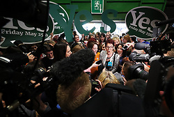 Co-Director of Together For Yes Ailbhe Smyth speaking to the media on arrival at the count centre in Dublin's RDS as votes are counted in the referendum on the 8th Amendment of the Irish Constitution which prohibits abortions unless a mother's life is in danger. Picture date: Saturday May 26, 2018. See PA story IRISH Abortion. Photo credit should read: Brian Lawless/PA Wire