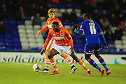 Hayden White of Blackpool FC (On loan from Bolton Wanderers) takes on Jonathan Forte of Oldham Athletic during the Sky Bet League 1 match between Oldham Athletic and Blackpool at SportsDirect.Com Park, Oldham, England on 15 March 2016. Photo by Mike Sheridan.