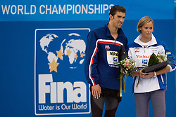 Winner  at the victory ceremony after the Women's  400m Individual Medley Final during the 13th FINA World Championships Roma 2009, on August 2, 2009, at the Stadio del Nuoto,  in Foro Italico, Rome, Italy. (Photo by Vid Ponikvar / Sportida)