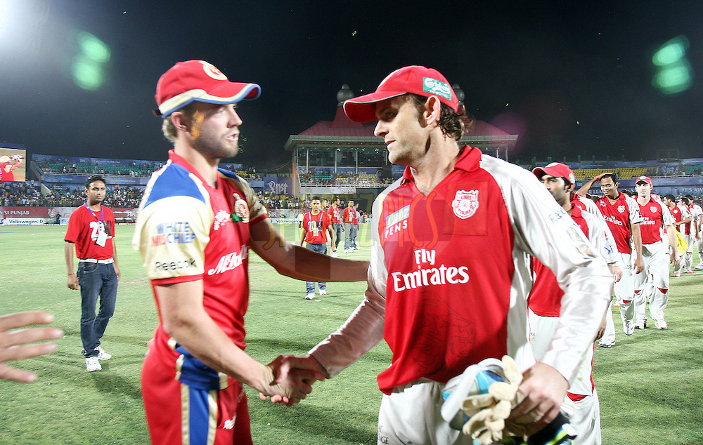 Kings XI Punjab captain Adam Gilchrist after winning the match 63 of the Indian Premier League ( IPL ) Season 4 between the Kings XI Punjab and the Royal Challengers Bangalore held at the The HPCA Stadium in Dharamsala, Himachal Pradesh, India on the 17th May 2011..Photo by Money Sharma/BCCI/SPORTZPICS.