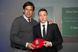 CARDIFF, WALES - Saturday, May 11, 2013: Clive Smith is presented with his U16's cap by Wales national team manager Chris Coleman at the FAW Trust Under-16's cap presentation. (Pic by David Rawcliffe/Propaganda)