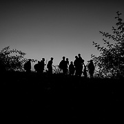 Refugees cross the hungarian border from Serbia, on september 12, 2015. Thousands of refugees, most of them from Syria, cross this border everyday with the hope to reach european countries like Sweden or Germany. The next step for them will be to register in Hungary before continuing their long journey.
