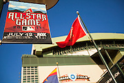 14 JUNE 2011 - PHOENIX, AZ:  Banners on light poles announce that Chase Field, formerly Bank One Ballpark, home of the Arizona Diamondbacks, in Phoenix, AZ, is hosting the 2011 All Star Game. Chase Field is the site of the 2011 Major League Baseball All Star Game. The All Star Game is on July 12, 2011. The stadium seats about 49,000. The first game was played in what was then Bank One Ballpark in 1998. It is the first major league baseball stadium with a retractable roof.   Photo by Jack Kurtz