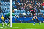 Sheffield Wednesday goalkeeper Keiren Westwood (1) saves Leeds United forward Patrick Bamford (9) header during the EFL Sky Bet Championship match between Sheffield Wednesday and Leeds United at Hillsborough, Sheffield, England on 26 October 2019.