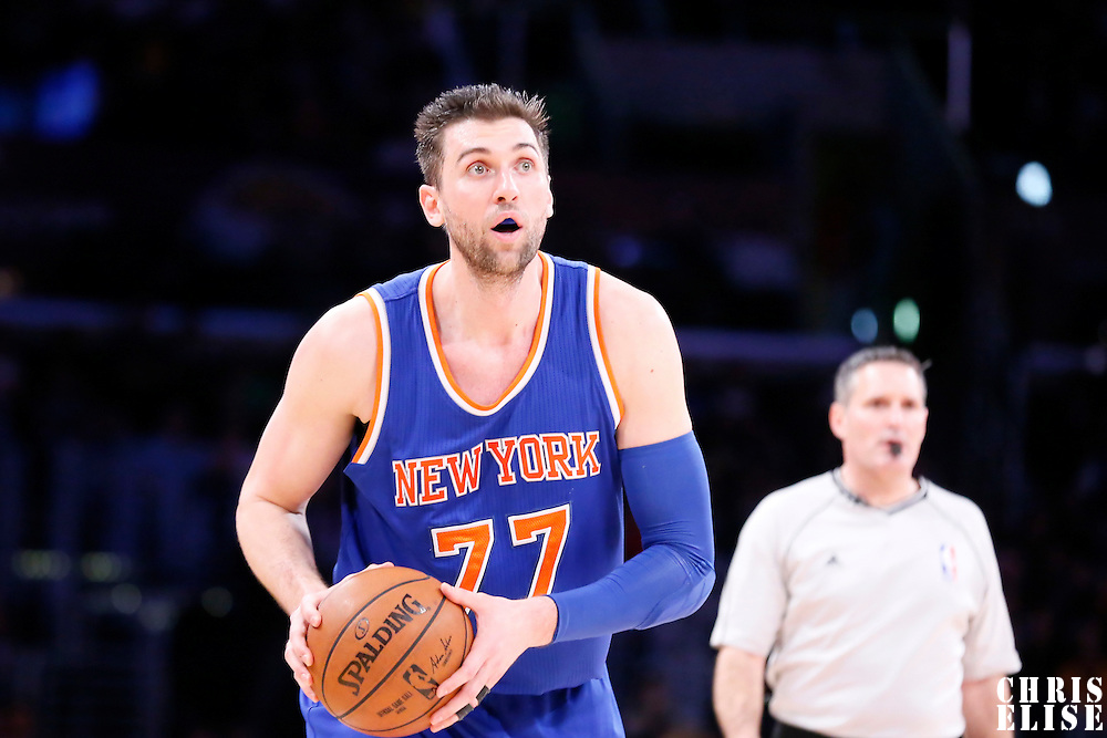 12 March 2015: New York Knicks center Andrea Bargnani (77) looks to pass the ball during the New York Knicks 101-94 victory over the Los Angeles Lakers, at the Staples Center, Los Angeles, California, USA.