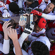 Smyrna eagles players celebrate with the Division I championship trophy after defending Salesianum 32-26 in overtime Saturday, Dec. 05, 2015 at Delaware Stadium in Newark.