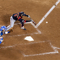 23 March 2009: #6 Hiroyuki Nakajima of Japan bunts during the 2009 World Baseball Classic final game at Dodger Stadium in Los Angeles, California, USA. Japan defeated Korea 5-3