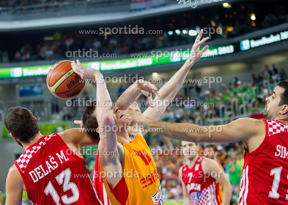 Mario Delas #13 of Croatia and Krunoslav Simon #11 of Croatia vs Victor Claver #10 of Spain during basketball match between National teams of Spain and Croatia in 3rd Place game at Day 19 of Eurobasket 2013 on September 22, 2013 in Arena Stozice, Ljubljana, Slovenia. (Photo by Vid Ponikvar / Sportida)
