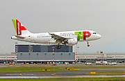 TAP Portugal, Airbus A319. Photographed at Malpensa airport, Milan, Italy