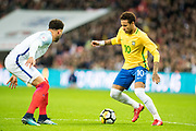 Brazil (10) Neymar, England (2) Kyle Walker during the International Friendly match between England and Brazil at Wembley Stadium, London, England on 14 November 2017. Photo by Sebastian Frej.