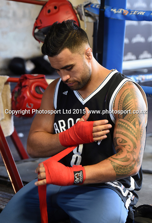 All Blacks player Liam Messam during a training session ahead of his boxing match in Sydney at the end of this month. Boxing Alley, Parnell, Auckland. New Zealand. Tuesday 20 January 2015. Copyright photo: Andrew Cornaga / www.photosport.co.nz