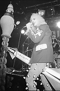 OO Zeros singer on stage, Marquee club, UK, 1980s