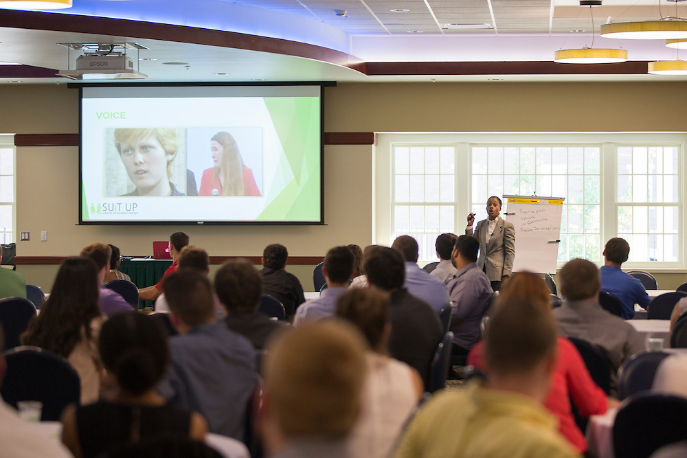Brittany Tyree, the Senior Assistant Director of Career Management, explains the importance of tone of voice and body languge when meeting potential employers during the How to Meet the Firms interactive student workshop on Sept. 6, 2016. Photo by Emily Matthews