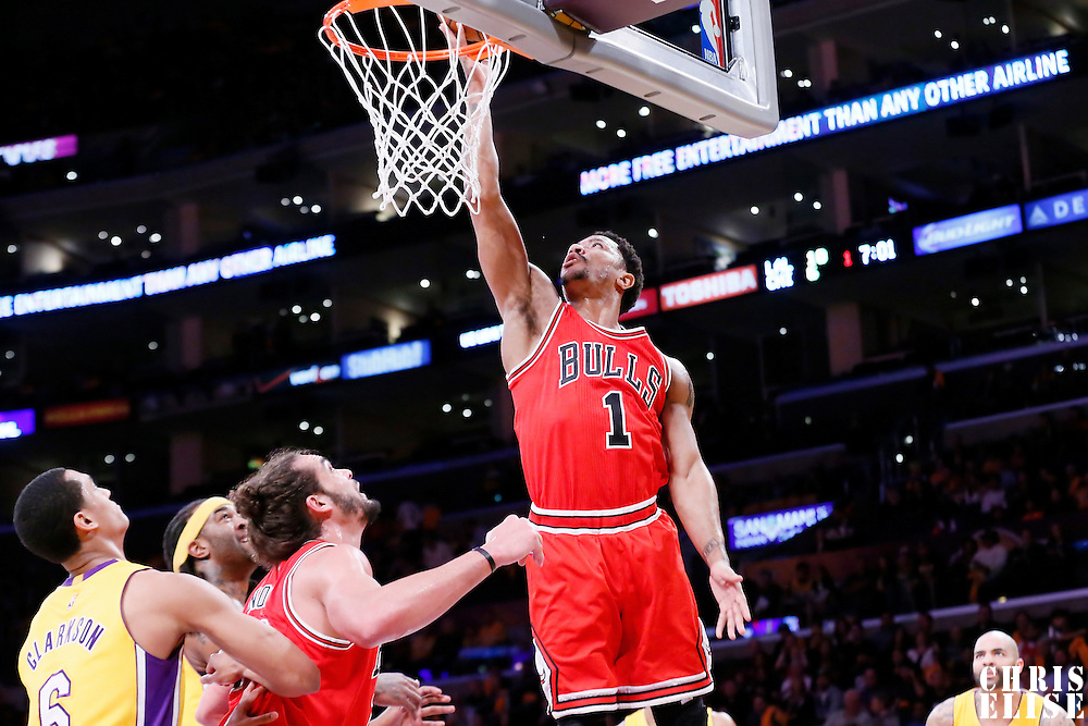 29 January 2015: Chicago Bulls guard Derrick Rose (1) goes for the layup during the Los Angeles Lakers 123-118 2OT victory over the Chicago Bulls, at the Staples Center, Los Angeles, California, USA.