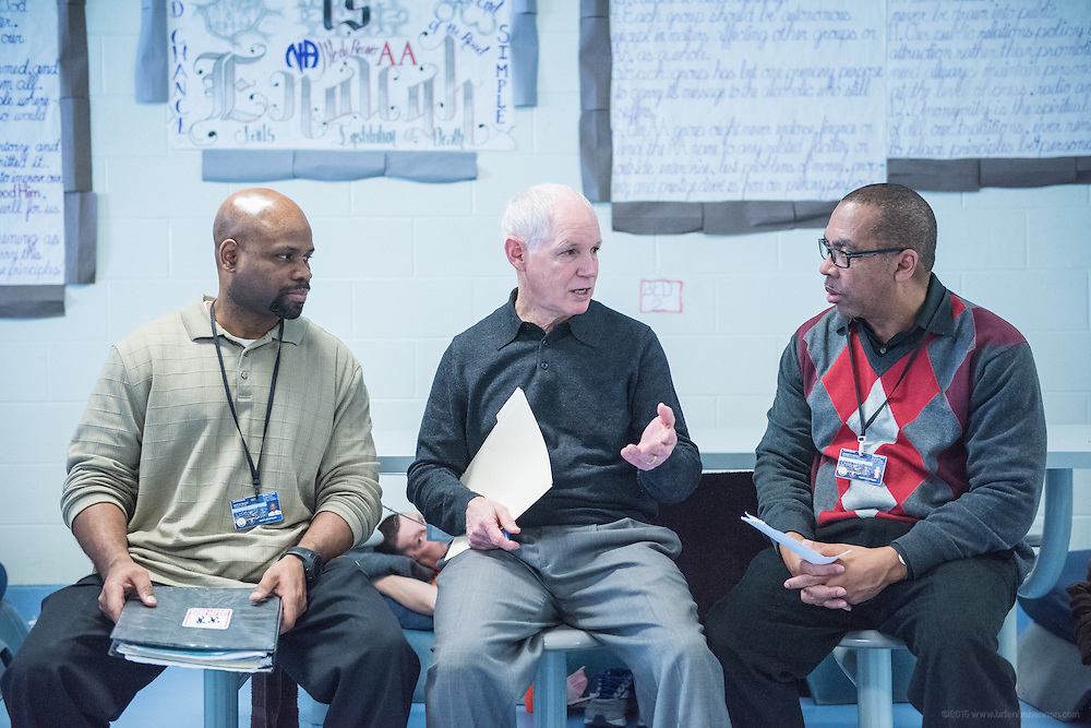 Offender Services Manager Martin Baker, left, Assistant Director Steve Durham, and Substance Abuse Coordinator Ken Wright talk Wednesday, Jan. 13, 2016 at Louisville Metro Corrections. (Photo by Brian Bohannon)