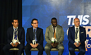 Group C coaches Remko Bicentini (CUY), Carlos de Los Cobos (SLV), Theodore Whitmore (JAM) and Fabian Coito (HON) during CONCACAF Gold Cup groups unveiling news conference, Wednesday, April 10, 2019, in Los Angeles.