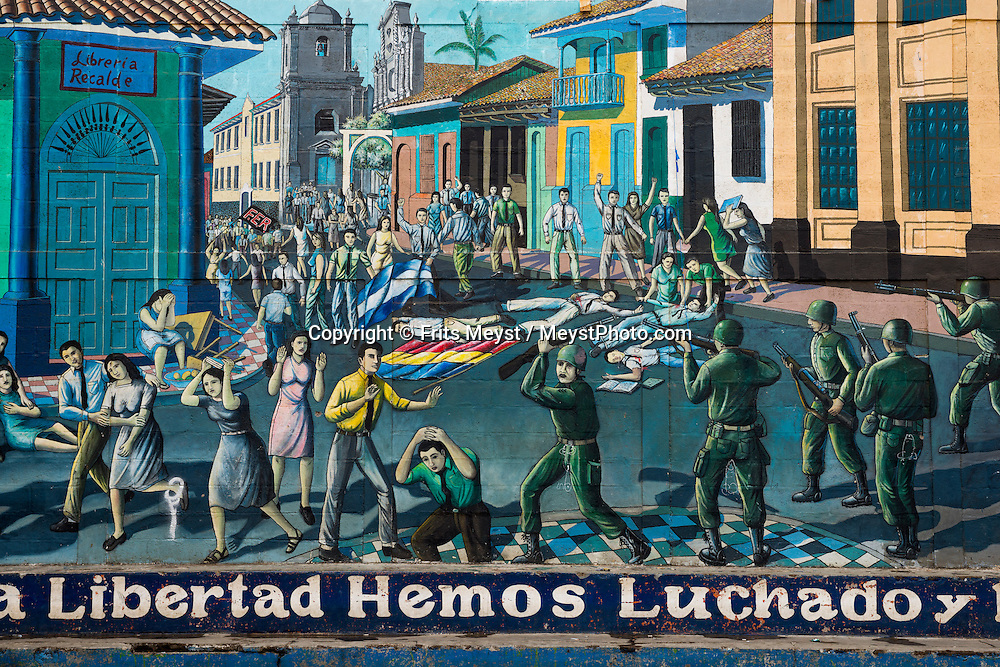 Leon; Nicaragua; May 2014. Murals depict guerrilla heros an government massacres during the civil war. León is the second largest city in Nicaragua. It was founded by the Spaniards as León Santiago de los Caballeros and rivals Granada; Nicaragua; in the number of historic Spanish colonial churches; secular buildings; and private residences. Central America's largest and least populated country consists of lakes; volcanoes and Spanish colonial cities. Photo by Frits Meyst / MeystPhoto.com