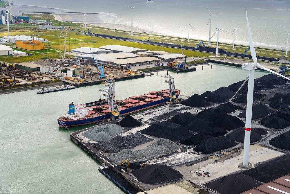 Nederland, Zeeland, Borssele, 23-10-2013; energielandschap, haven bij Borssele. Opslag van steenkool, windmolens aan de dijk van de Westerschelde met o.a. het oranje gebouw van COVRA (Centrale Organisatie Voor Radioactief Afval) , kerncentrale Borssele linksboven.<br /> Port and  industrial area with storage of coal and COVRA, a company that handles the storage of radioactive waste. In the back nuclear plant Borssele (l).<br /> luchtfoto (toeslag op standaard tarieven);<br /> aerial photo (additional fee required);<br /> copyright foto/photo Siebe Swart.