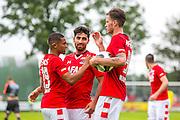 UITGEEST - 09-07-2016, AZ - FC Volendam, Complex FC Uitgeest, 8-1, AZ speler Wout Weghorst (r) heeft de 6-0 gescoord, AZ speler Dabney dos Santos Souza (l),AZ speler Alireza Jahanbakhsh (m).