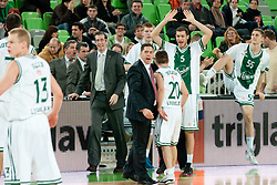 Saso Filipovski, head coach of Union Olimpija, celebrates during basketball match between KK Union Olimpija and Unics Kazan (RUS) of 10th Round in Group D of Regular season of Euroleague 2011/2012 on December 21, 2011, in Arena Stozice, Ljubljana, Slovenia. (Photo by Matic Klansek Velej / Sportida)