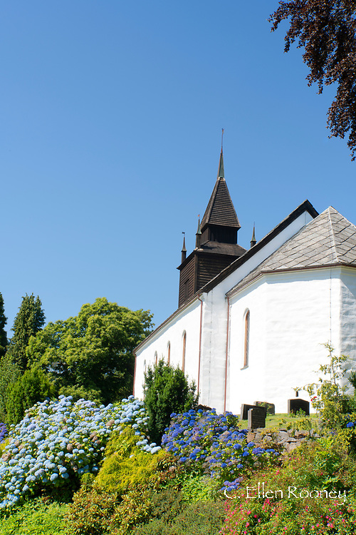 A beautiful garden surrounding the Leikanger Church on Sogne Fjord, Vestlandet, Norway