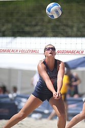 April 7, 2018 - Tucson, AZ, U.S. - TUCSON, AZ - APRIL 07: Arizona Wildcats blocker Olivia Macdonald (5) hits the ball during a college beach volleyball match between the California Golden Bears and the Arizona Wildcats on April 07, 2018, at Bear Down Beach in Tucson, AZ. Arizona defeated California 3-2. (Photo by Jacob Snow/Icon Sportswire (Credit Image: © Jacob Snow/Icon SMI via ZUMA Press)
