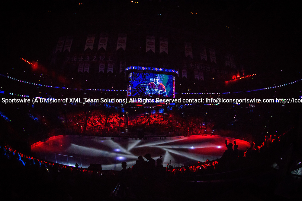 MONTREAL, QC - APRIL 12: Presentations and light show before the first period of Game One of the Eastern Conference First Round series of the 2017 NHL Stanley Cup Playoffs between the New York Rangers and the Montreal Canadiens on April 12, 2017, at the Bell Centre in Montreal, QC (Photo by Vincent Ethier/Icon Sportswire)
