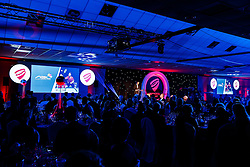 Andrew Billingham takes to the stage to announce the City's new Badminton Franchise at Bristol Sport's Annual Gala Dinner at Ashton Gate Stadium - Mandatory byline: Rogan Thomson/JMP - 08/12/2015 - SPORT - Ashton Gate Stadium - Bristol, England.