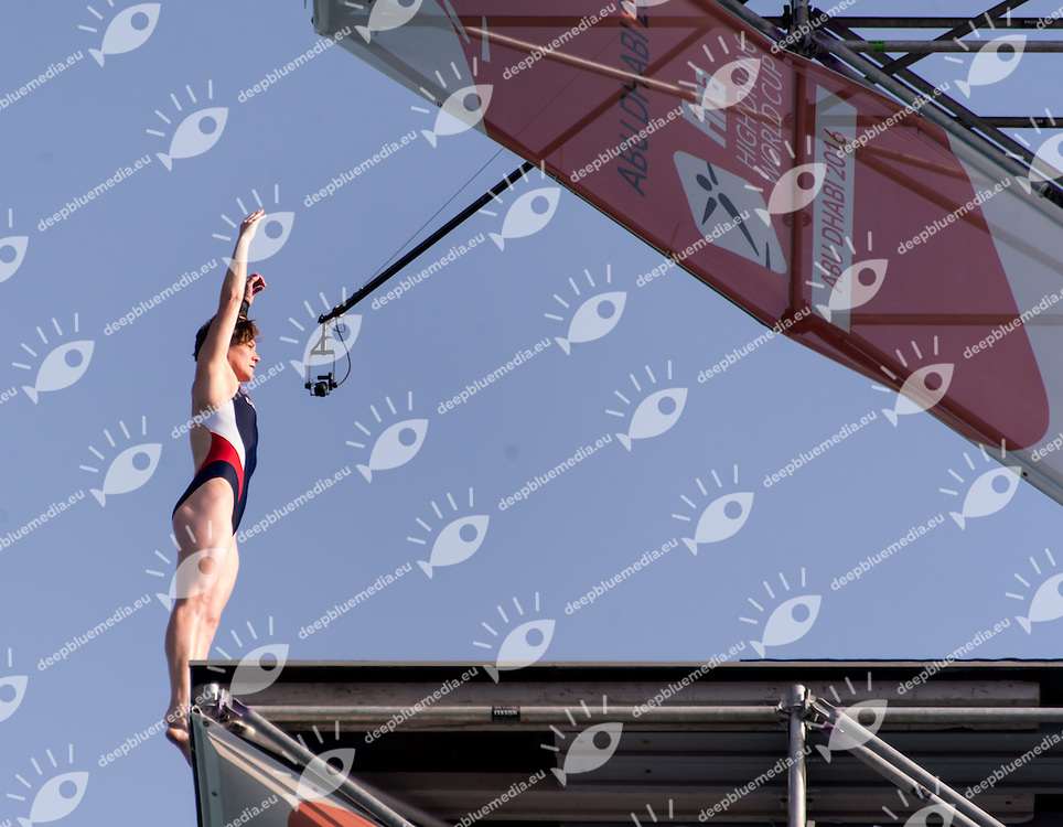 HUBER Ginger USA<br /> Women <br /> FINA High Diving World Cup 2016<br /> Abu Dhabi Sailing and Yacht Club <br /> Corniche Breakwater -Abu Dhabi - U.A.E.<br /> Day02  28 Feb.2016<br /> Photo L.Salvemini/Insidefoto/Deepbluemedia