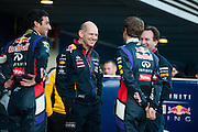 Circuito de Jerez, Spain : Formula One Pre-season Testing 2014. Adrian Newey laughs with Sebastian Vettel (GER), Daniel Ricciardo (AUS), and Christian Horner at the launch of the Red Bull-Renault RB-10