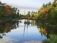 A Pond Near Copper Harbor In Late Afternoon Reflecting Autumn Colors, Michigan, Upper Peninsula, USA : Low Res File - 8X10 To 11X14 Or Smaller, Larger If Viewed From A Distance
