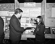 01/01/1970.1st January 1970 .Aer Lingus Young Scientist of the Year Exhibition at the RDS..Patrick Faulkner T.D. with Maria Edgeworth from Scoil Mhuire, Convent of Mercy, Longford who won the overall prize with her entry 'to extract pigments from various flowers and investigate their possible practical use.'