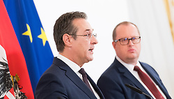 30.04.2019, Bundeskanzleramt, Wien, AUT, Bundesregierung, Pressekonferenz zur Presentation der Steuerreform, im Bild Vizekanzler Heinz-Christian Strache (FPÖ) und Staatssekretär im Finanzministerium Hubert Fuchs (FPÖ) // Austrian Vice Chancellor Heinz-Christian Strache and Austrian State Secretary of the Finance Ministry Hubert Fuchs during media conference due to fiscal reform at federal chancellors office in Vienna, Austria on 2019/04/30 EXPA Pictures © 2019, PhotoCredit: EXPA/ Michael Gruber