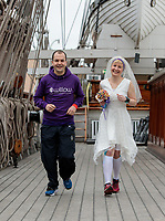 Jackie Scully and Duncan Sloan get married aboard the Cutty Sark before going to Blackheath to run the 26.2 miles. The Virgin Money London Marathon, 23rd April 2017.<br /> <br /> Photo: David Levenson for Virgin Money London Marathon<br /> <br /> For further information: media@londonmarathonevents.co.uk