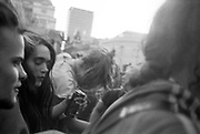 Woman drinking Strongbow, Reclaim the Streets, Trafalgar Square, London, May 1997